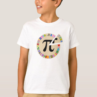 Funny And Colorful Piece Of Pi Calculated T-shirt at Zazzle