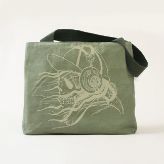 Funny and Cool Skull with Headphones Tote