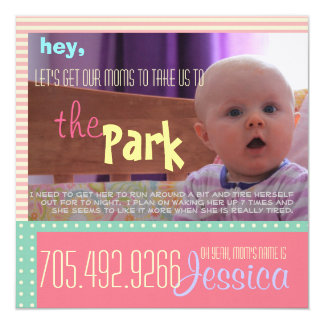 Funny and Cute Baby's Play Date Card Custom Invites