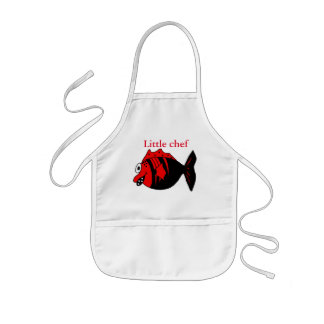 Funny and cute black and red fantasy fish kids' apron