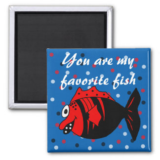 Funny and cute black and red fantasy fish magnet