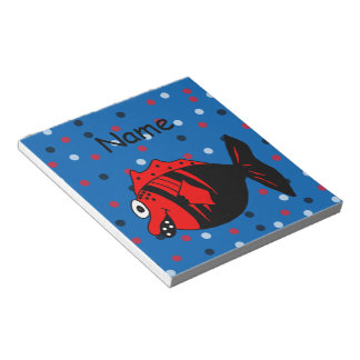 Funny and cute black and red fantasy fish note pads
