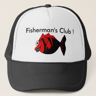 Funny and cute black and red fisherman fish trucker hat