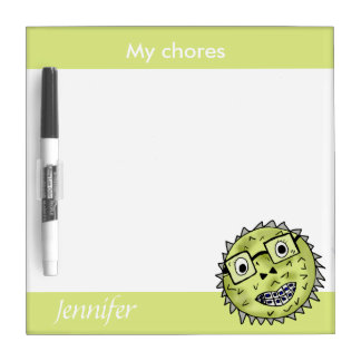 Funny and cute blow fish dry erase board