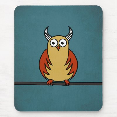 Funny and Cute Cartoon Horned Owl Mouse Pads