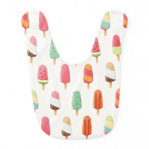 Funny and cute colored ice creams pattern baby bib