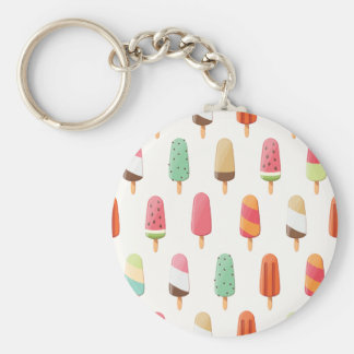 Funny and cute colored ice creams pattern keychain