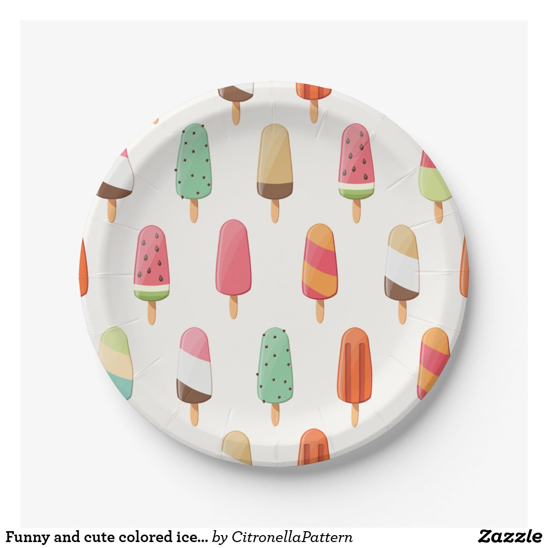Funny and cute colored ice creams pattern paper plate