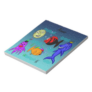 Funny and cute fishes collection notepad