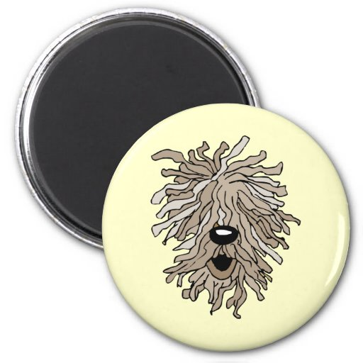 Funny and cute hairy dog 2 inch round magnet