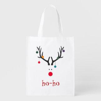 Funny and cute minimalist Santa's reindeer Grocery Bag