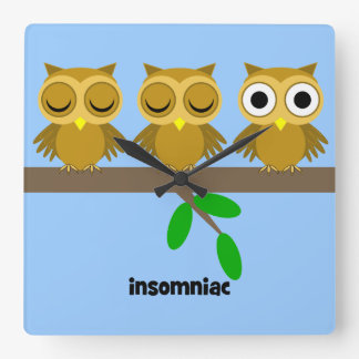 funny and cute owls square wall clock