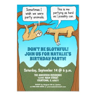 Funny and Cute Sloths Birthday Party Invitation