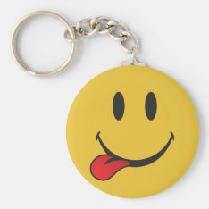 Funny And Cute Sticking Out Tongue Emoji Keychain at Zazzle