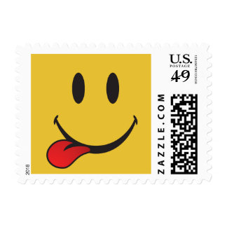 Funny and Cute Sticking out tongue Emoji Postage