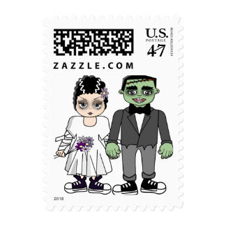 Funny and cute wedding invitation, save the date postage stamp