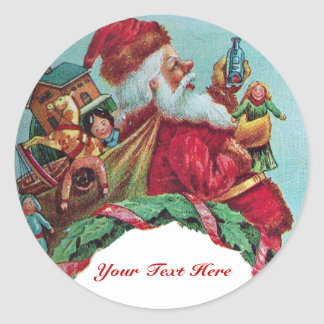 FUNNY AND HUMOROUS SANTA CLAUS VINTAGE CROWN CLASSIC ROUND STICKER