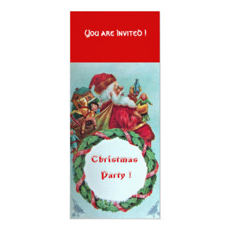 FUNNY AND HUMOROUS SANTA CLAUS VINTAGE CROWN 4X9.25 PAPER INVITATION CARD