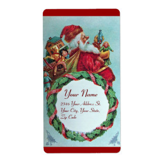 FUNNY AND HUMOROUS SANTA CLAUS VINTAGE CROWN LABEL