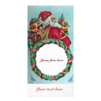FUNNY AND HUMOROUS SANTA CLAUS VINTAGE CROWN PERSONALIZED PHOTO CARD