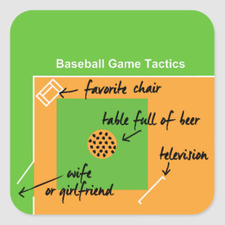Funny and original baseball game tactics, square sticker