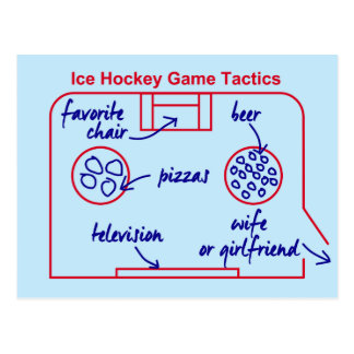 Funny and original ice hockey game tactics, postcard