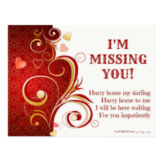 Funny and Romantic I Miss You Poem with Hearts Postcard