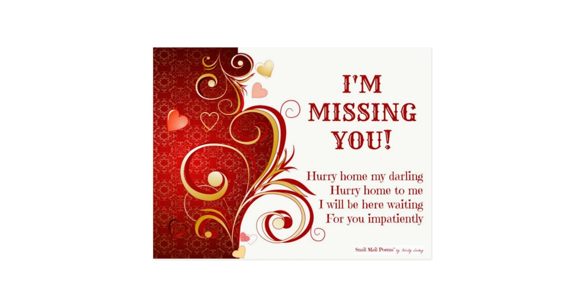 Funny and Romantic I Miss You Poem with Hearts Postcard ...