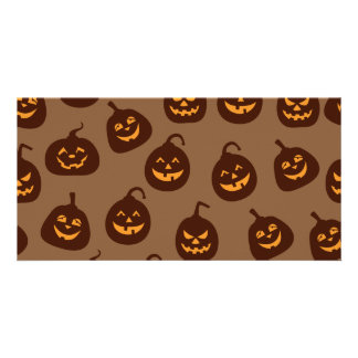 Funny and Scary Brown Halloween Pumpkins Pattern Card