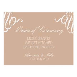 Funny and Simple Wedding Program Postcard