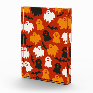 Funny and Spooky Halloween Ghost Pattern on Brown Acrylic Award