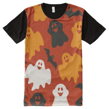Halloween Themed Funny and Spooky Halloween Ghost Pattern on Brown All-Over-Print Shirt