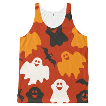 Halloween Themed Funny and Spooky Halloween Ghost Pattern on Brown All-Over-Print Tank Top