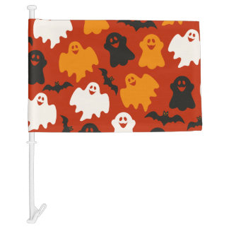 Funny and Spooky Halloween Ghost Pattern on Brown Car Flag