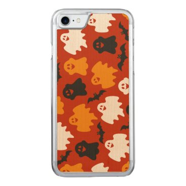 Halloween Themed Funny and Spooky Halloween Ghost Pattern on Brown Carved iPhone 8/7 Case