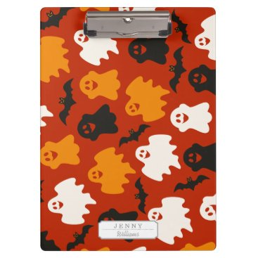 Halloween Themed Funny and Spooky Halloween Ghost Pattern on Brown Clipboard