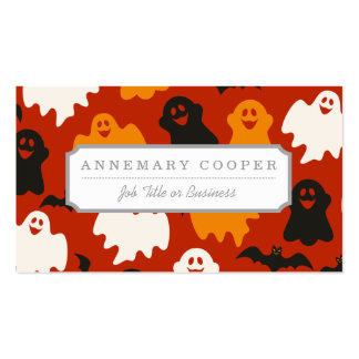 Funny and Spooky Halloween Ghost Pattern on Brown Double-Sided Standard Business Cards (Pack Of 100)