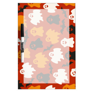 Funny and Spooky Halloween Ghost Pattern on Brown Dry-Erase Board