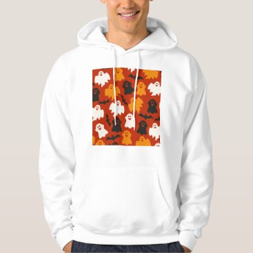 Halloween Themed Funny and Spooky Halloween Ghost Pattern on Brown Hoodie