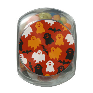 Funny and Spooky Halloween Ghost Pattern on Brown Jelly Belly Candy Jar