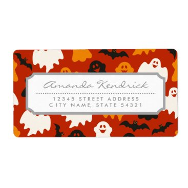 Halloween Themed Funny and Spooky Halloween Ghost Pattern on Brown Label