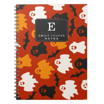 Halloween Themed Funny and Spooky Halloween Ghost Pattern on Brown Notebook