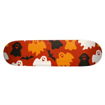 Halloween Themed Funny and Spooky Halloween Ghost Pattern on Brown Skateboard Deck