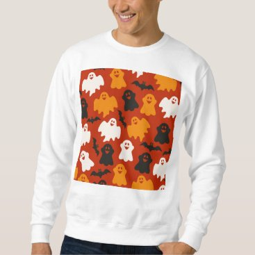 Halloween Themed Funny and Spooky Halloween Ghost Pattern on Brown Sweatshirt