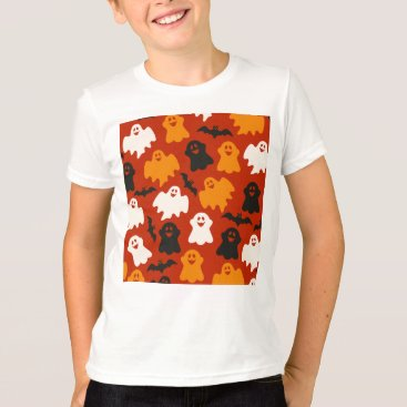 Halloween Themed Funny and Spooky Halloween Ghost Pattern on Brown T-Shirt