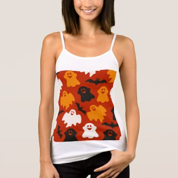 Halloween Themed Funny and Spooky Halloween Ghost Pattern on Brown Tank Top