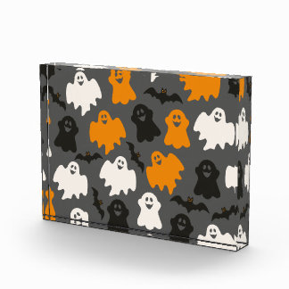 Funny and Spooky Halloween Ghost Pattern on Grey Acrylic Award