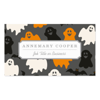 Funny and Spooky Halloween Ghost Pattern on Grey Double-Sided Standard Business Cards (Pack Of 100)
