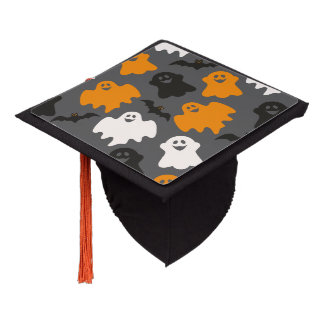 Funny and Spooky Halloween Ghost Pattern on Grey Graduation Cap Topper
