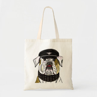 Funny and Tough Bulldog with Leather Clothes Bags